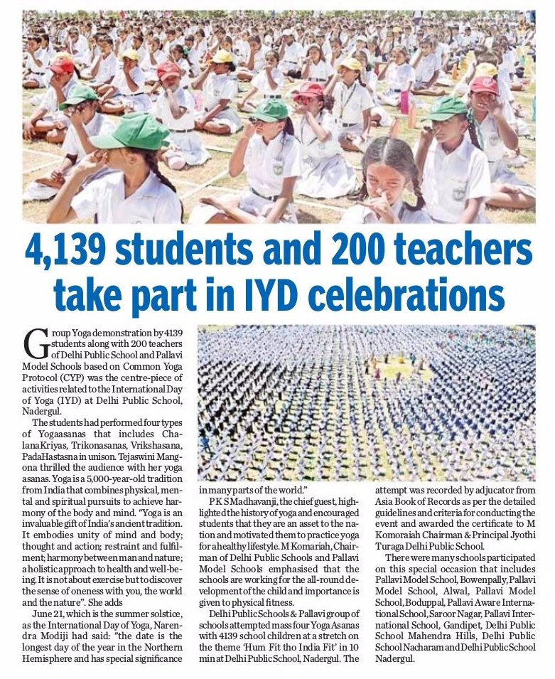 News article about Yoga day celebrations